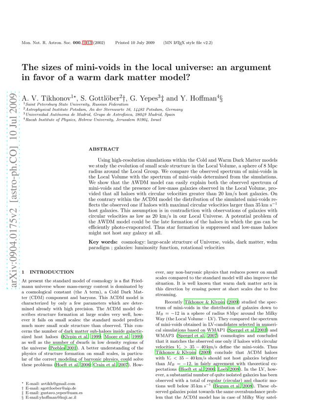 A. V. Tikhonov - The sizes of mini-voids in the local universe: an argument in favor of a warm dark matter model?