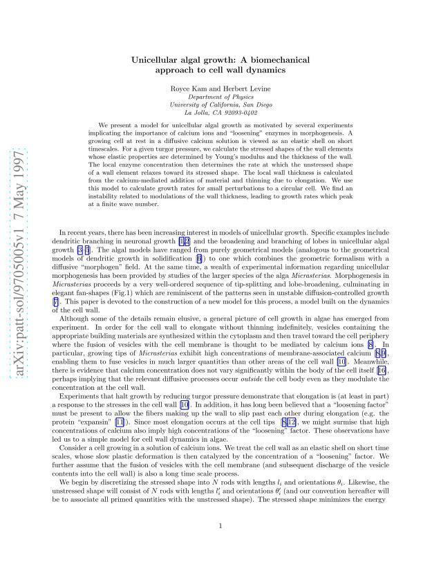 Royce Kam - Unicellular algal growth: A biomechanical approach to cell wall dynamics