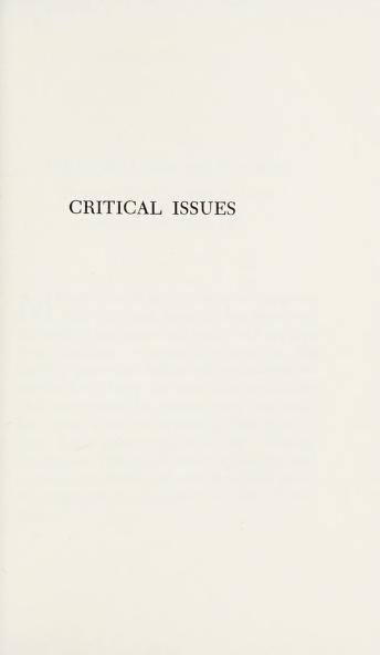 Cover of: Critical issues in American public education   John Kelley Norton