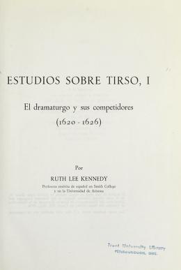 Cover of: Estudios sobre Tirso | Ruth Lee Kennedy
