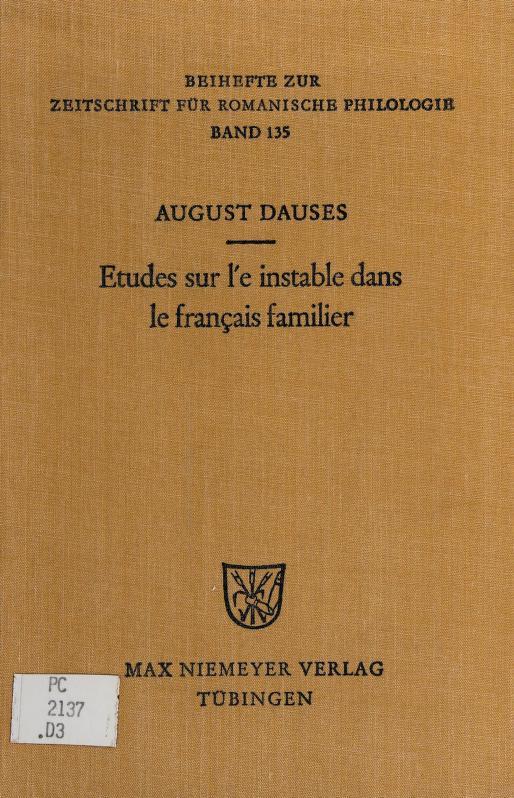 Études sur l'e instable dans le franÇais familier by August Dauses
