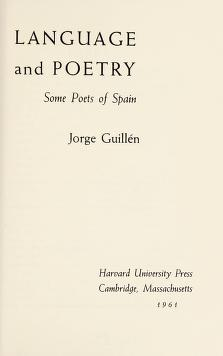 Cover of: Language and poetry | Jorge Guillén