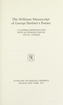 Cover of: The Williams manuscript of George Herbert's poems | George Herbert