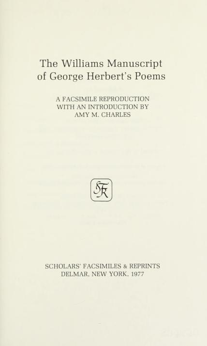 The Williams manuscript of George Herbert's poems by George Herbert